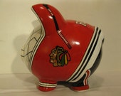 Personalized, Handpainted, Hockey Pig Piggy Bank - Inspired by the Boston Bruins & The Pittsburgh Penquins - MADE TO ORDER