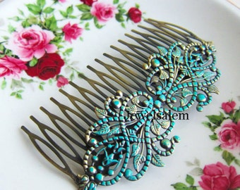 Vintage Style Hair Comb Victorian Patina Turquoise Wedding Hair Comb Something Blue Bridal Hair Pin Bridesmaids Verdigris Brass Hair Slide