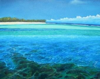 "Deep Blue Dream 10"" x 10"" Giclee on Canvas Print/ Original Artwork/ Seascape"