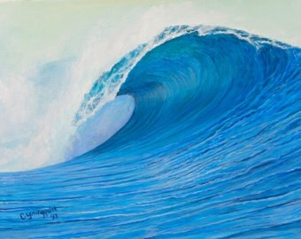 "Surf Art/ Wave Painting/ BLUE CURL  11"" x 14"" Giclee on Canvas Print/ Original Artwork"