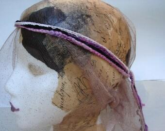 Crochet Headband Hairband black pink lilac hippie boho indie