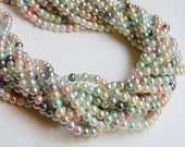Multicolored glass pearl beads round 4mm full strand 1000GB