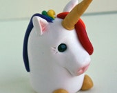Rainbow Unicorn, Polymer Clay Magical Animal Totem, Little Girls Unique Gift by Classon Creations