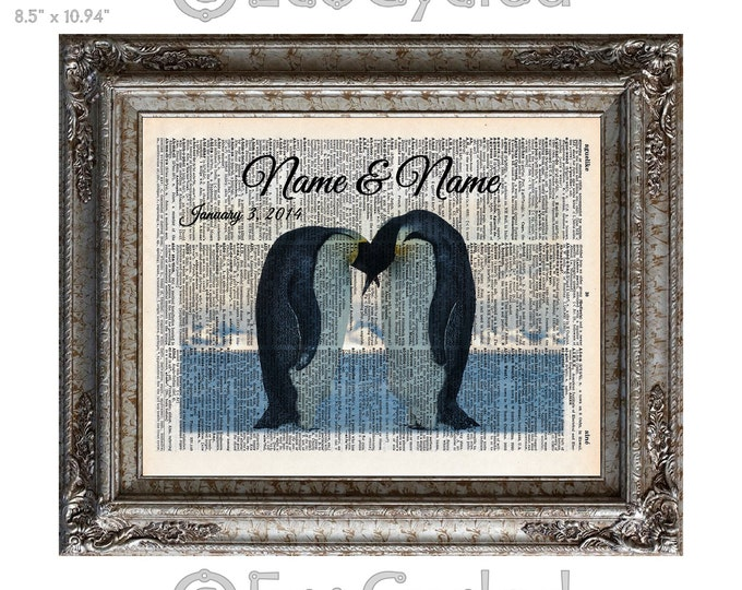 Emperor Penguins In Love 2 with Names & Date on Vintage Upcycled Dictionary Art Print Book Custom Anniversary Wedding bookworm gift