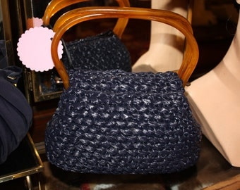 1950's Crochet Navy Blue Purse  Item #208-AP