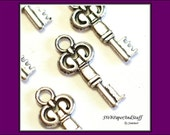 6 Silver Key Charms - metal charms - jewelry supply - craft supplies destash - Bracelet Charms