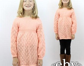 Kid's Vintage 70s Pink Knit Dress Kids Vintage Dress Children's Vintage Kids Crochet Dress Girls Vintage