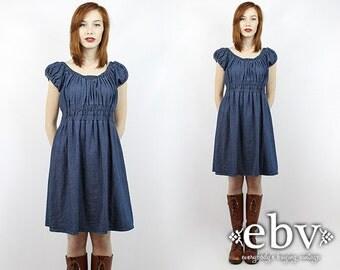 Vintage 90s Denim Babydoll Mini Dress S M 90s Grunge Dress 90s Denim Dress Denim Mini Dress Vintage Denim Dress Jean Dress Babydoll Dress