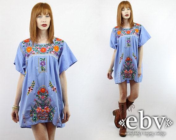 fr listing  robe mexicain bleu brode hippie