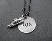 RUNNING SHOE RUN Necklace - Running Necklace with Pewter Run Shoe on Gunmetal Chain - Runner - Running Jewelry - Runner Necklace - Run Life
