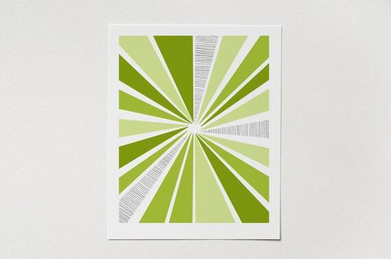 LAST CHANCE - Modern Abstract Art Print - Mid Century Sunburst Wall Art - Green Artwork - 5x7, 8x10, 11x14 Wall Decor