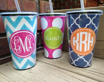 Monogrammed Cup with Straw - Monogrammed Tumbler - Monogrammed Gift - Teacher Gift - Coworker Gift