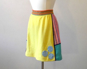 Upcycled Vintage Mini Skirt / 70s Skirt / Groovy Patchwork Wool Skirt /  Medium
