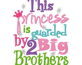 Princess Guarded by 2 brothers embroidery applique design digital instant download