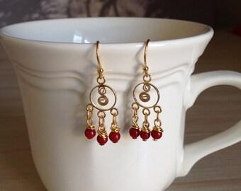 Delicate Coral Chandelier Earrings