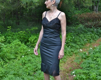 Rogers Lacy Black Slip Dress Early 60's Vintage Lingerie  w/ Full Lace Cups & Swagged Lace Bottom Over Chiffon Detail Size Small 34 - VL241