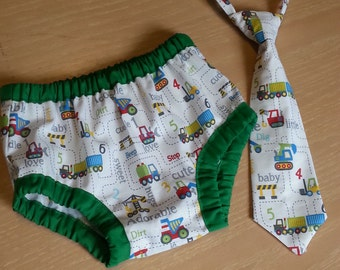 cake smash outfit boy, tie and diaper cover set constuction print, baby first birthday diaper cover and tie