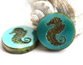 Seahorse Picasso bead - Turquoise Green, rustic - czech glass beads, large, round, tablet shape, nautical, beach - 23mm - 2Pc - 1568