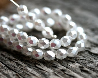 4mm White Faux pearls, 50pc czech glass round beads, fire polished faceted white spacers - 50Pc - 1646