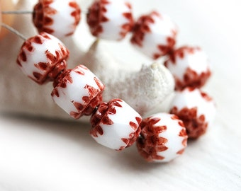 Czech glass Cathedral beads - White with Cocoa Brown ends - fire polished, round, tribal, spacers - 6mm - 10Pc - 0773