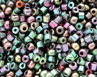 Vintage Seed Beads Mix, czech glass, Green Purple, round, shapes mix - 20gr - 0884
