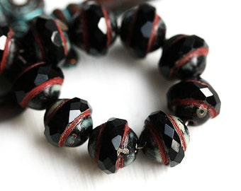 Black Saucer beads, UFO shape - Picasso Black, Czech glass, fire polished, 8x10mm, saturn - 10Pc - 0762