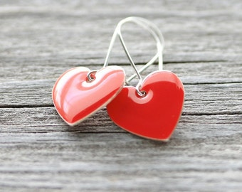 SALE Red Heart Earrings: Simple Enameled Drops with Sterling Silver, Whimsical Earrings, Stocking Stuffers, Gifts Under 10