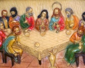 """Vintage """"The Last Supper"""" Heavy Molded Wall Hanging / Three Dimensional / Religious Christian Art"""