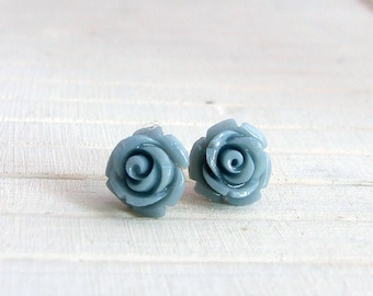 Blue Rose Earrings .. flower studs, small earrings, grey blue earrings, denim blue