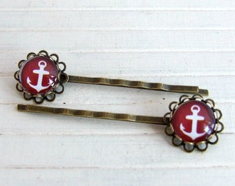 Anchor Hair Pins .. burgundy, nautical hair pins, red white anchor,  hair accessories, wine, anchor bobby pins