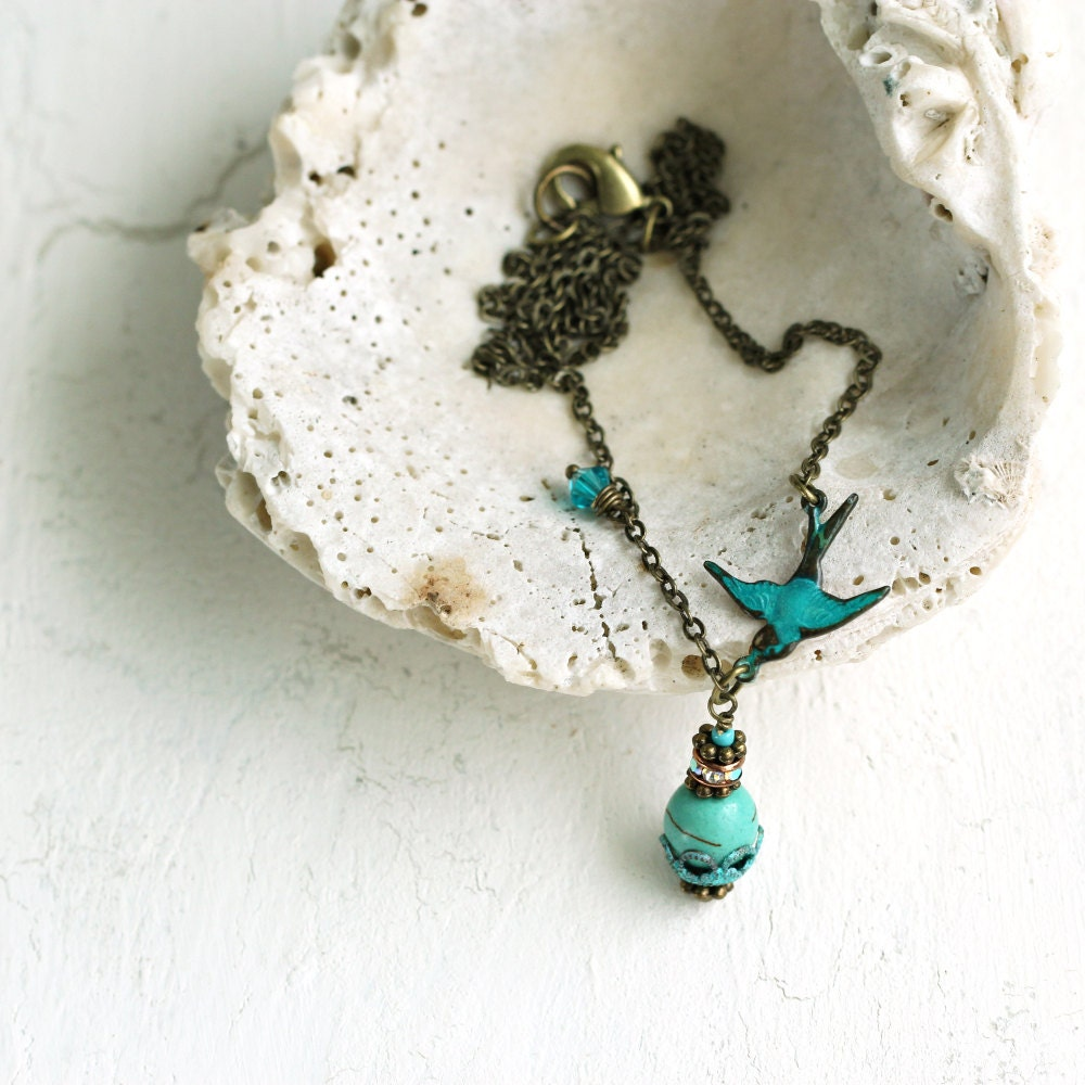 Bird Necklace - Blue Bird of Happiness - Pretty Jewelry - Turquoise Pendant - Bird Charm - UK Jewellery - December Birthstone Gift For Her