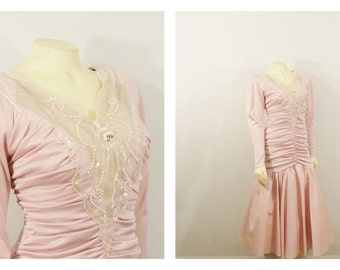 Vintage Dress 30s Style Formal Dress Ruched Body Drop Hip Mermaid Fish Tail Pale Lavender Pink Size Medium