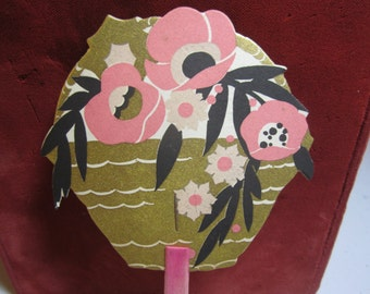 1920's art deco die cut unused gold gilded  Buzza hand fan bridge tally card pink and black art deco stylized flowers