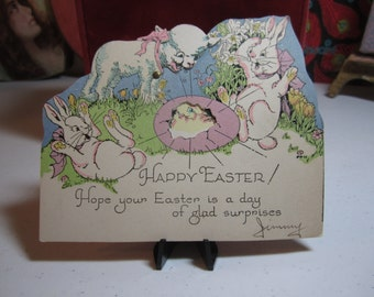 Adorable 1930's die cut Rust Craft mechanical easter greeting card excited rabbits and lamb watching a chick hatch from egg