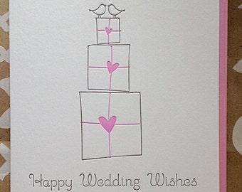 Wedding congrats card - Letterpress Wedding card - Happy Wedding Wishes! Love birds illustration.