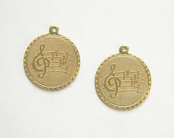 Raw Brass Musical Note Charm, Bracelet Charm, Stamping 20m x 22mm - 2 pcs. (r279)