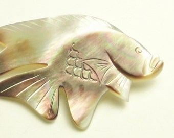 Carved Abalone Shell Jewelry Vintage Brooch Fish Costume Jewelry 1960's Mid Century Pin