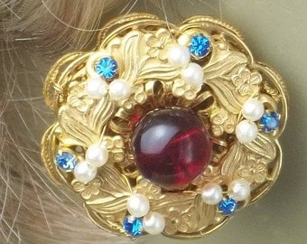 Vintage Stanley Hagler N.Y.C. Red Bead Faux Seed Pearls Sky Blue Rhinestone Gold Plate Costume Jewelry Earrings Gift For Her on Etsy