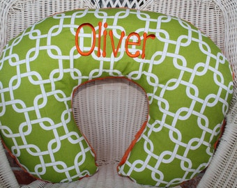 Nursing Pillow Cover -  Personalized Lime Gotcha and Orange Minky Boppy Cover - Embroidered, Modern, Links