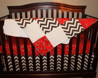 Sock Monkey Crib Bedding Ensemble with Patchwork Blanket