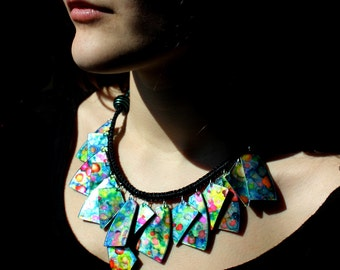 Recycled CD & Polymer Clay Necklace, handpainted, OOAK, made to order