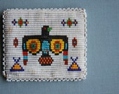 Vintage Native American Indian Change Purse Seed Beads Handmade Thunderbird and TeePees Deerskin Leather Souvenir