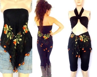 Black  convertible   Wrap top  halter beach yoga skirt Bustier  beach cover ups  blouse  backless top fashion  multi-way women's clothing