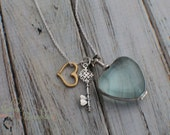 Beautiful Sterling Silver Locket Necklace - Key and Gold Heart Charms Valentine's Day