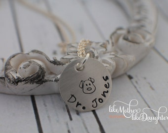 Personalized Necklace - Favorite Vet Hand Stamped Pendant Necklace - Thank You Necklace - Veterinarian Jewelry - Vet Tech Jewelry