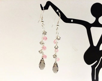 Brown and Pink Cascade Earrings  - FREE SHIPPING