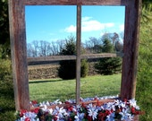 Red Barnwood Framed Mirror with flower box - white and red flowers