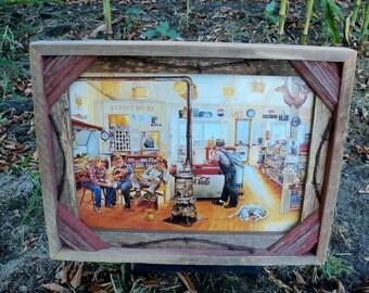 Barnwood framed Old Men in the General Store