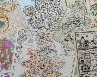 6384C - 1 yard  Cotton Linen Blend Fabric - Vibrant Vintage Map
