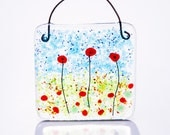 Poppies fused glass suncatcher lightcatcher poppy art decoration ornament remembrance gardener gift